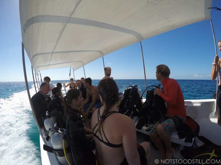 Heading to snorkel and dive site