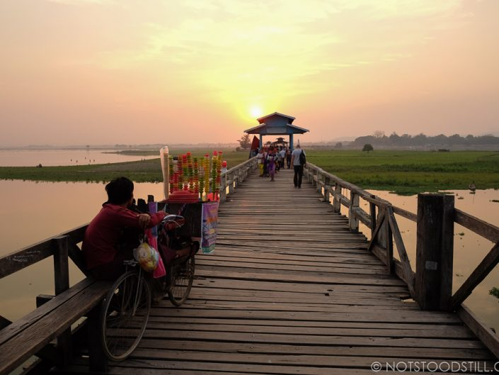 Catching the sunset on U Bein Bridge