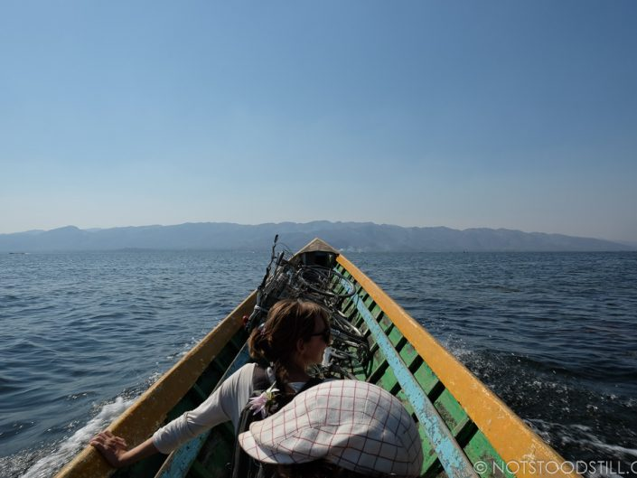 Crossing Inle Lake with our bikes onboard