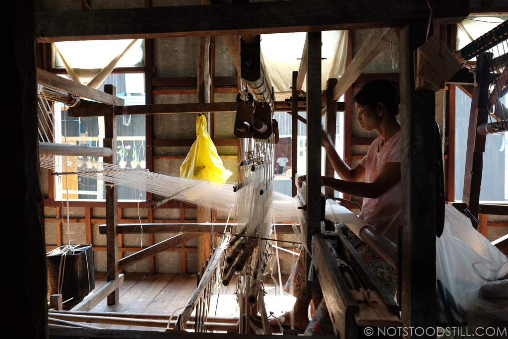 Weaving is the one of the local crafts here.