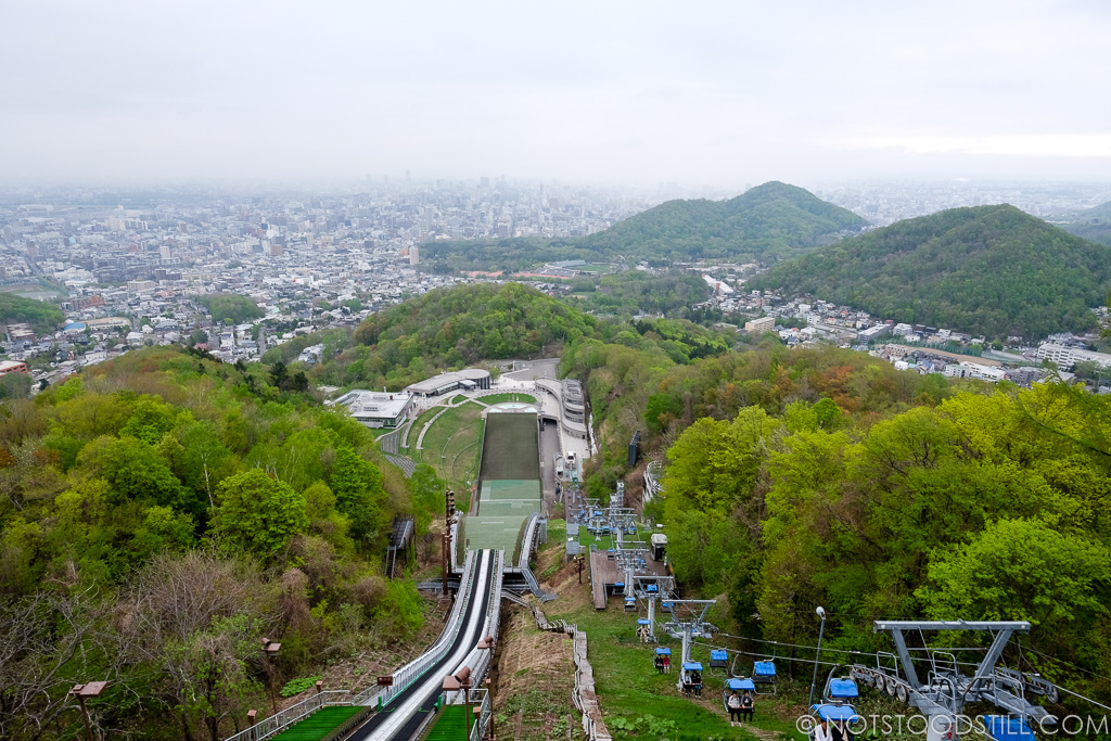 Great views of Sapporo from the top of the Okurayama Ski Jump Stadium