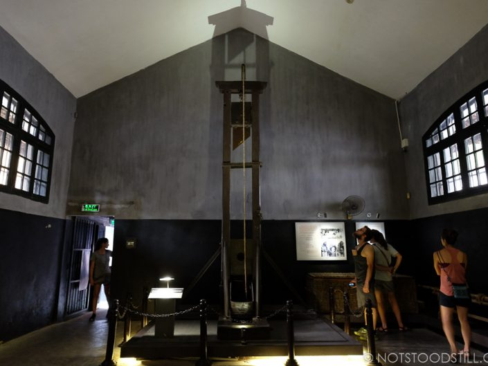 An original guillotine at Ha Lao Prison used by the French