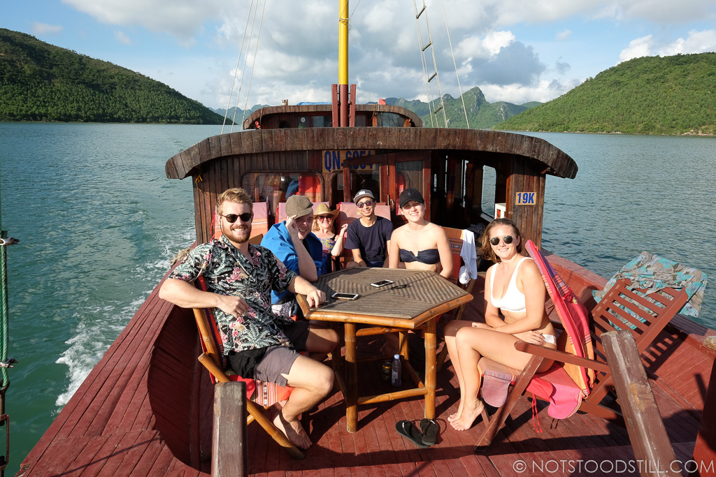 Our group, on the day boat cruising Bai Tu Long Bay