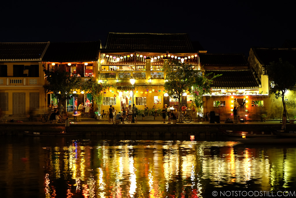 The town comes alive at night, colourful lanterns line the streets.