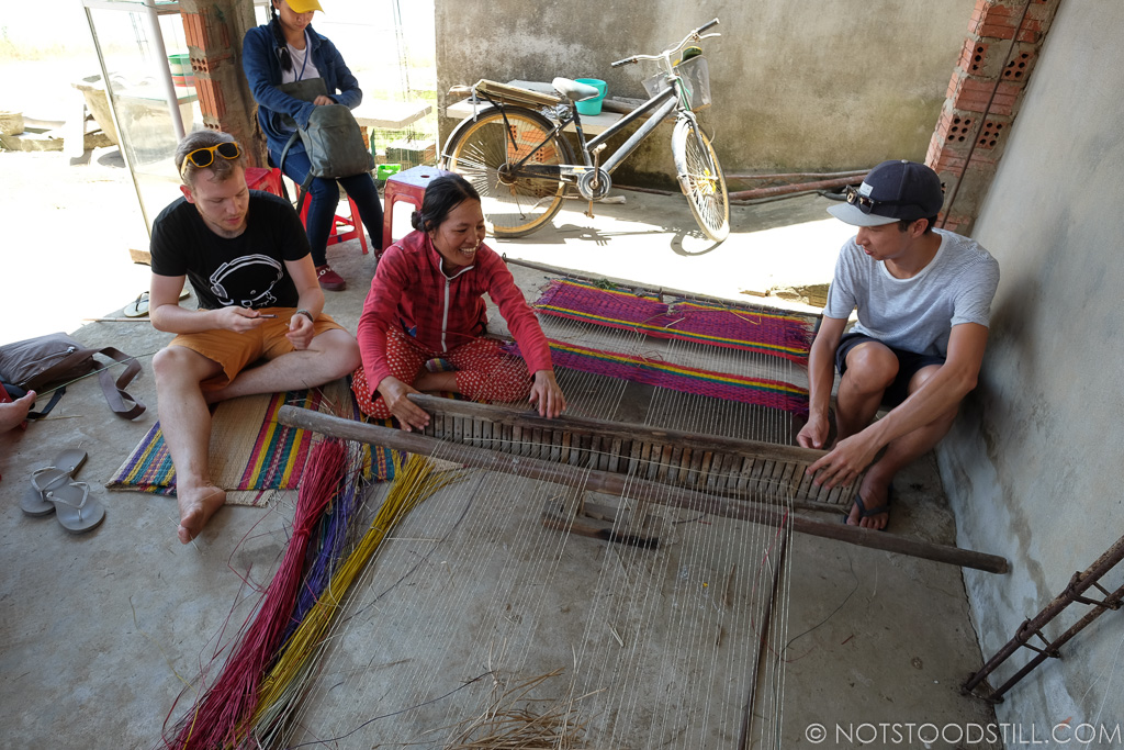 Mat making, using natural dried reeds found by the riverbanks