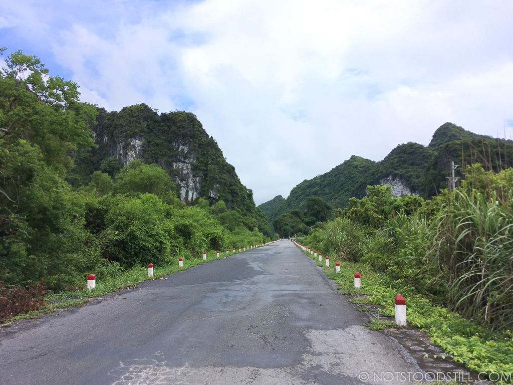 Driving along the north-south route on Cat Ba Island.