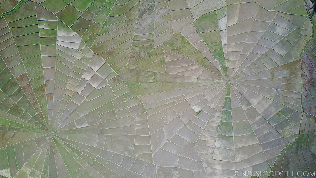From above, the spider web rice fields of Ruteng.