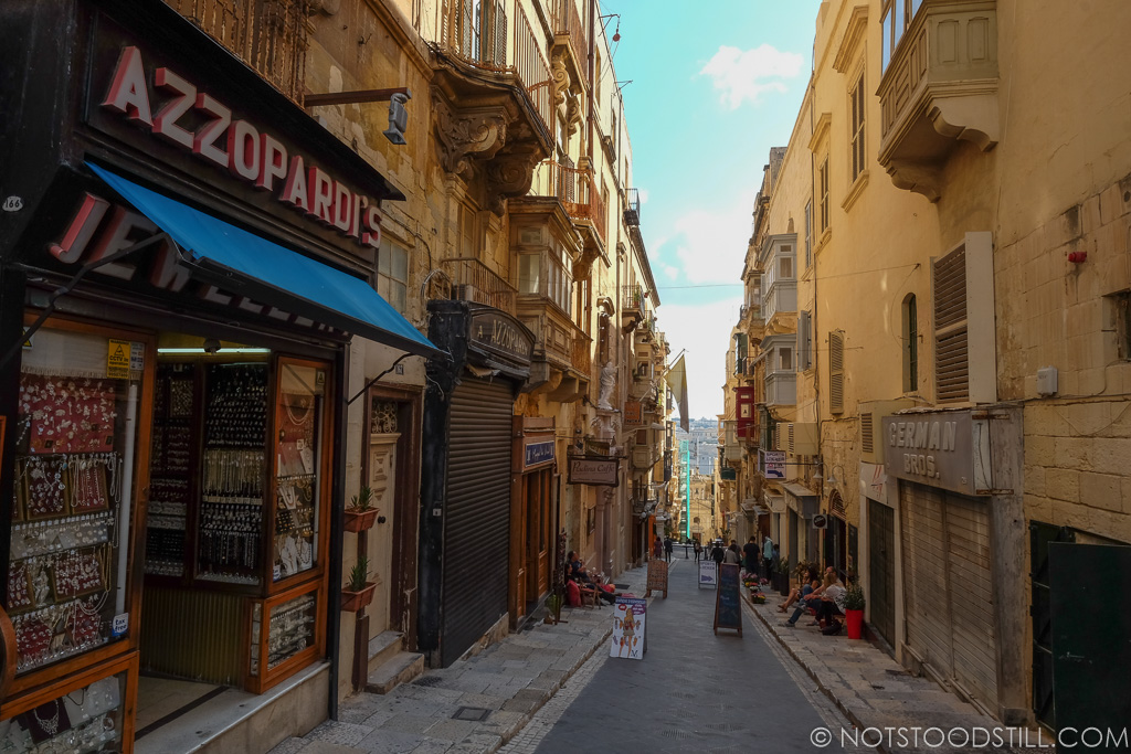 The narrow streets of Valletta.