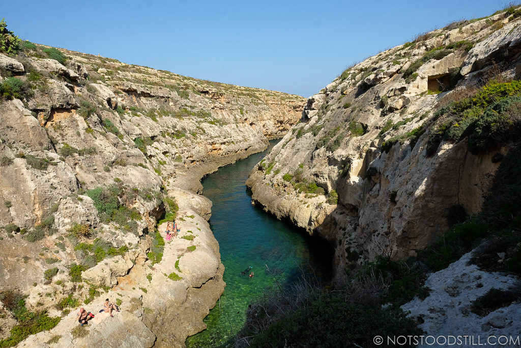 Wied il-Għasri , a secluded valley great for a swim.
